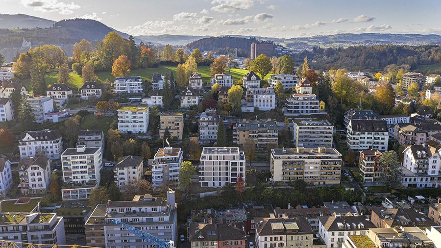 buan architekten – Neubau Wohnhaus Fluhmattstrasse Luzern – Vogelperspektive