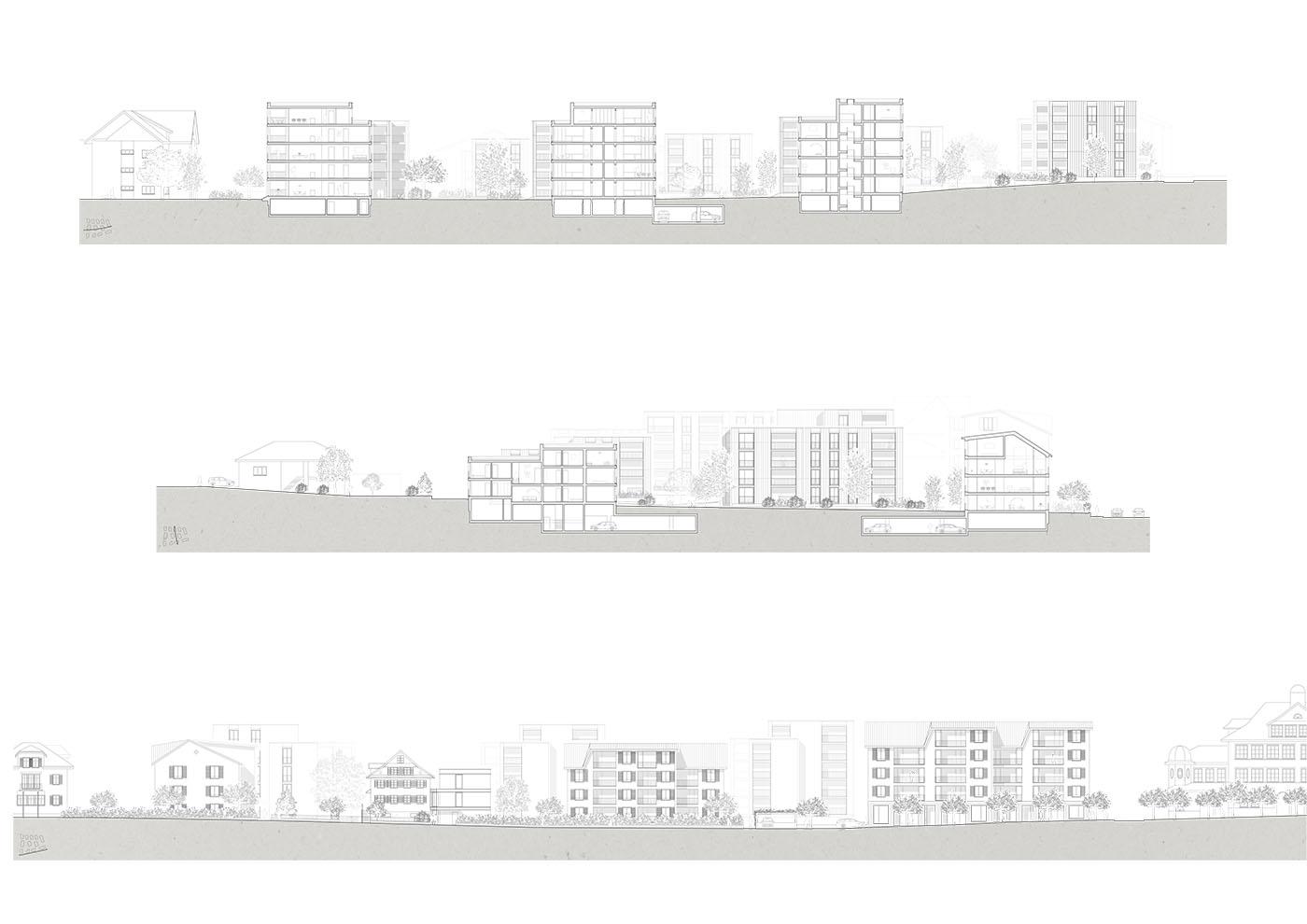 buan architekten – Studienauftrag Areal Schuetzenmatt Inwil – Ansichten – Schnitte