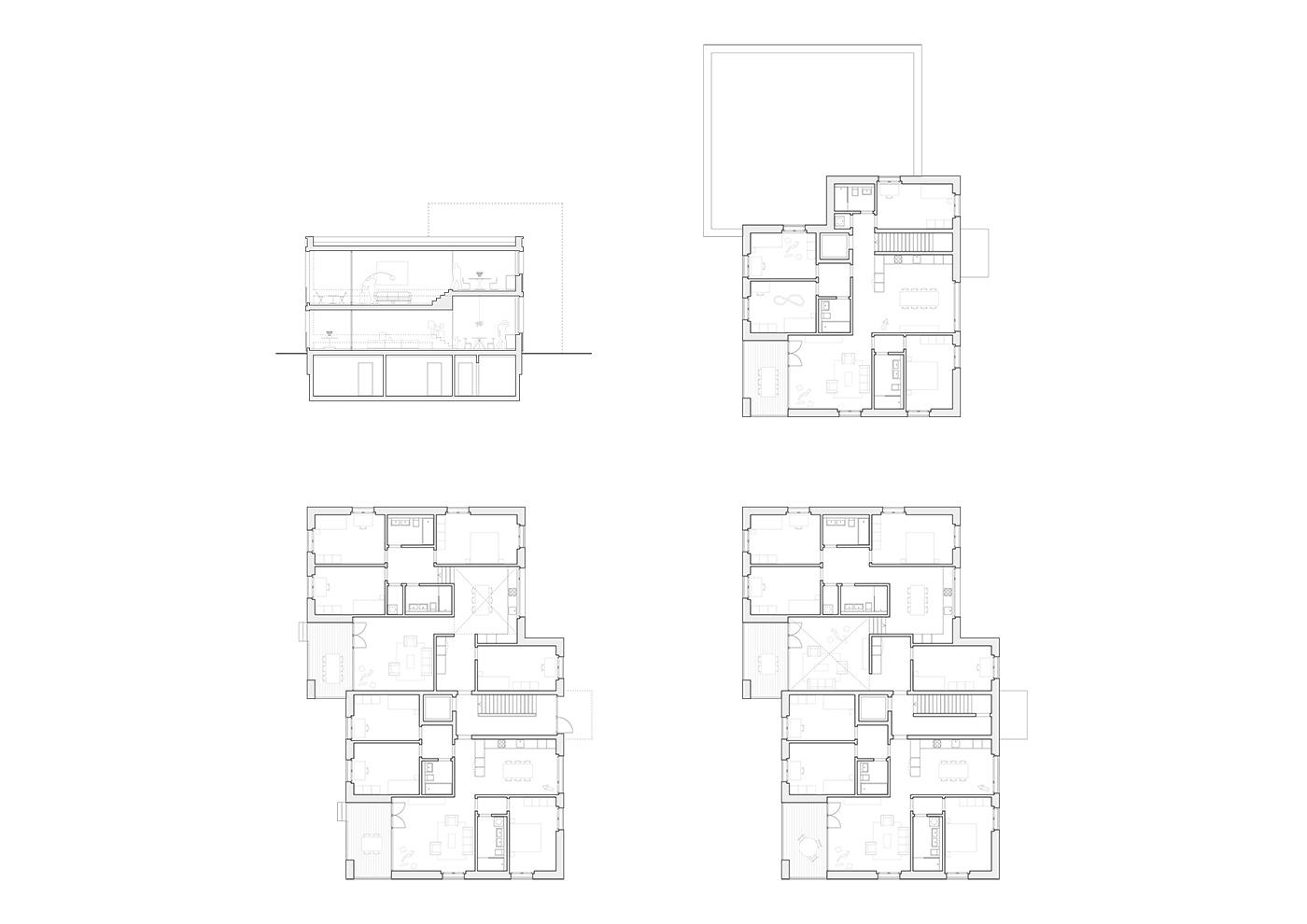 buan architekten – Studienauftrag Areal Schuetzenmatt Inwil – Grundrisse Haus A-D