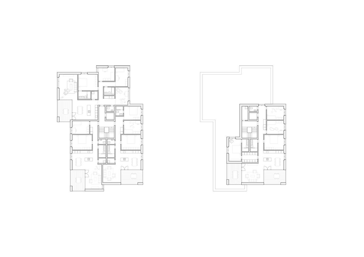 buan architekten – Studienauftrag Areal Schuetzenmatt Inwil – Grundrisse Haus G-H