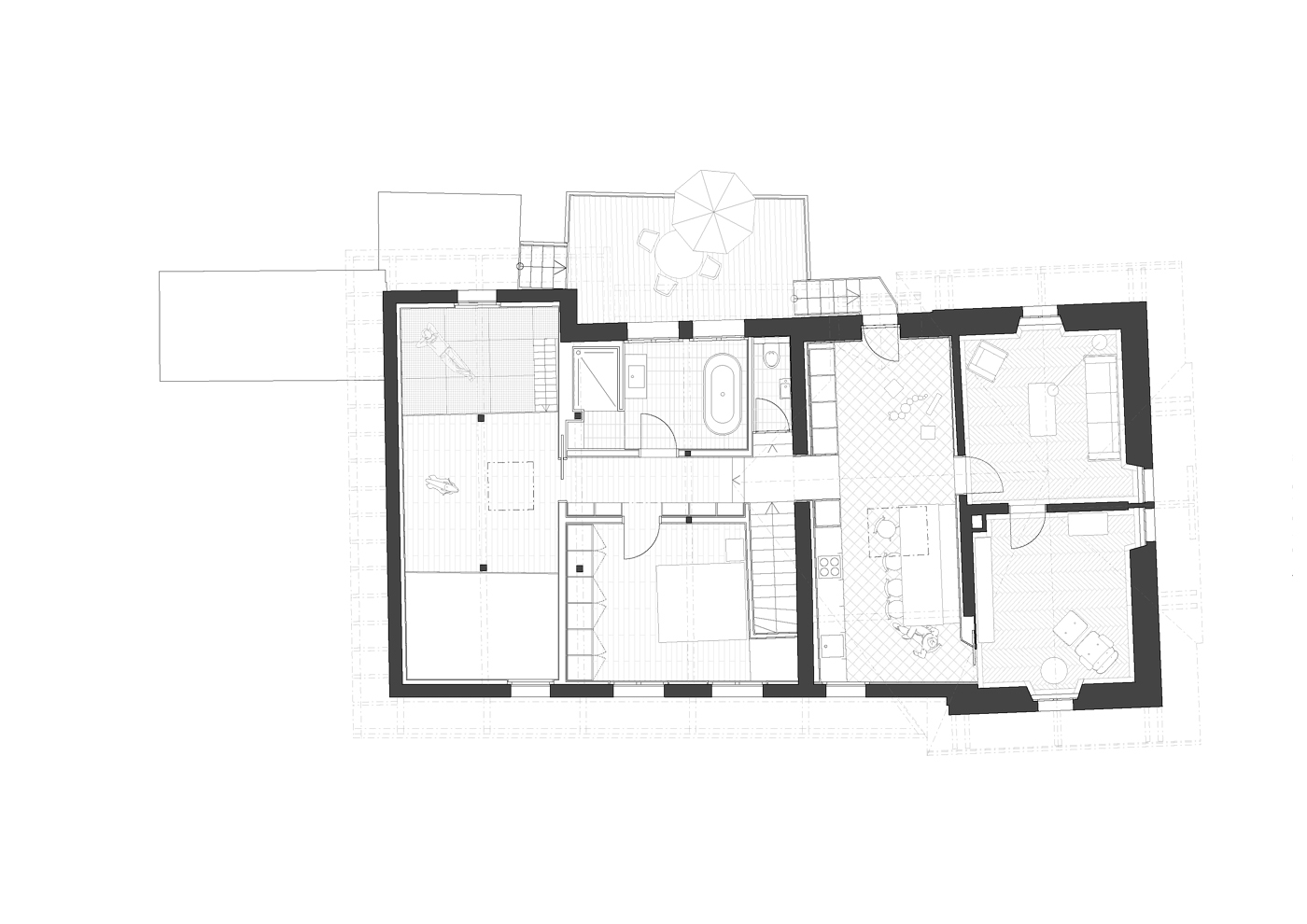 buan architekten – Umbau Bernstrasse Luzern – Grundriss Obergeschoss