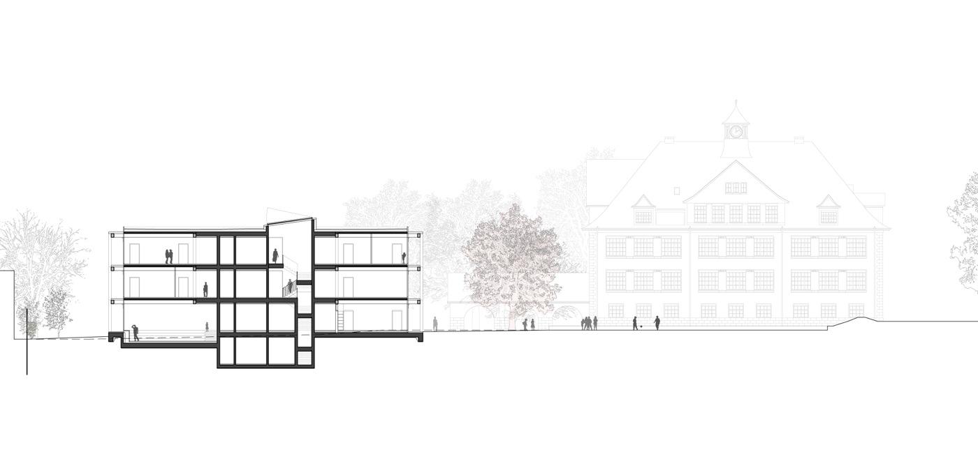 buan-architekten-ersatzneubau schulhaus zentrum-diessenhofen-laengsschnitt