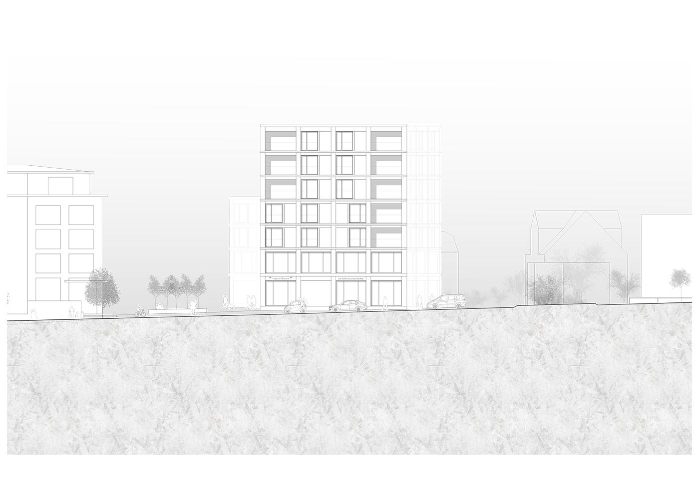 buan architekten – Studienauftrag Kanzlei-Kreisel Emmenbrücke – Ansicht Nordost