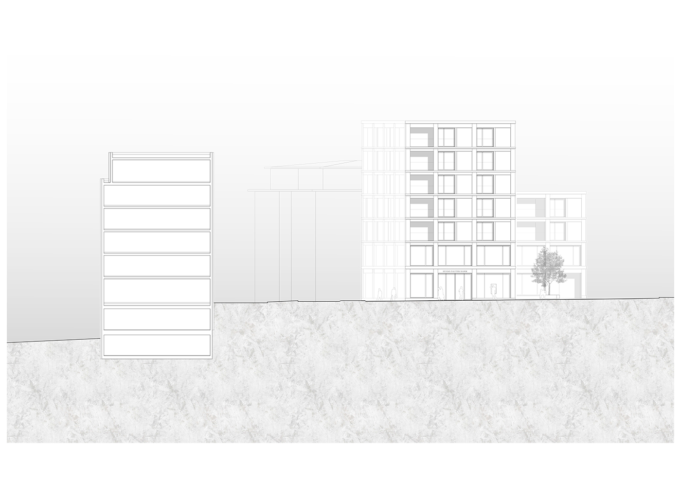 buan architekten – Studienauftrag Kanzlei-Kreisel Emmenbrücke – Ansicht Nordwest