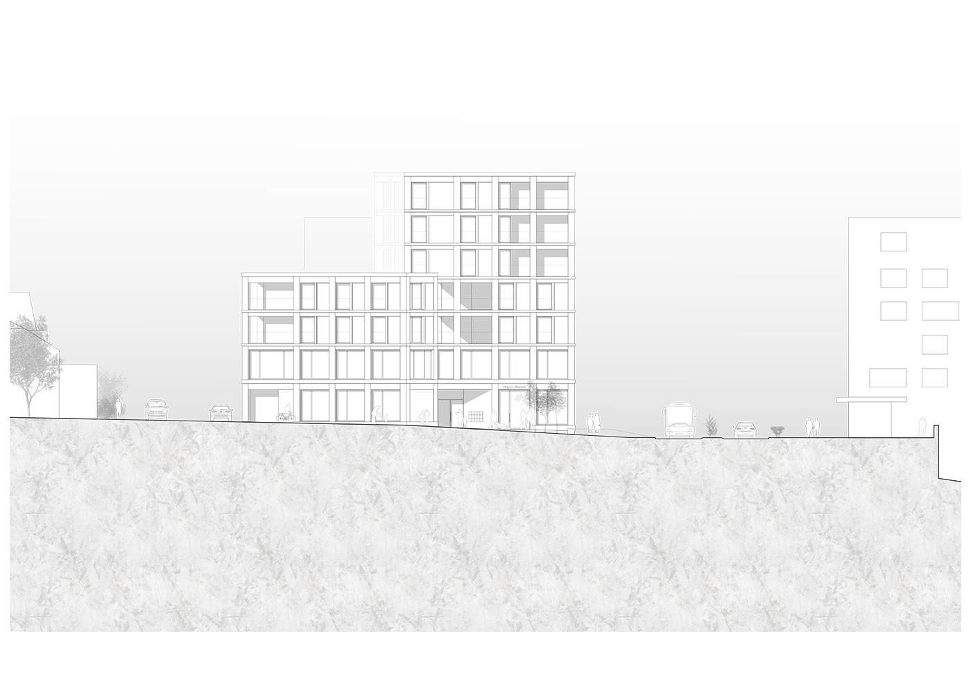 buan architekten – Studienauftrag Kanzlei-Kreisel Emmenbrücke – Ansicht Südost