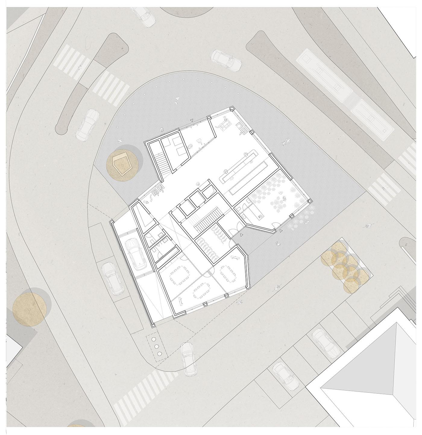 buan architekten – Studienauftrag Kanzlei-Kreisel Emmenbrücke – Grundriss Erdgeschoss