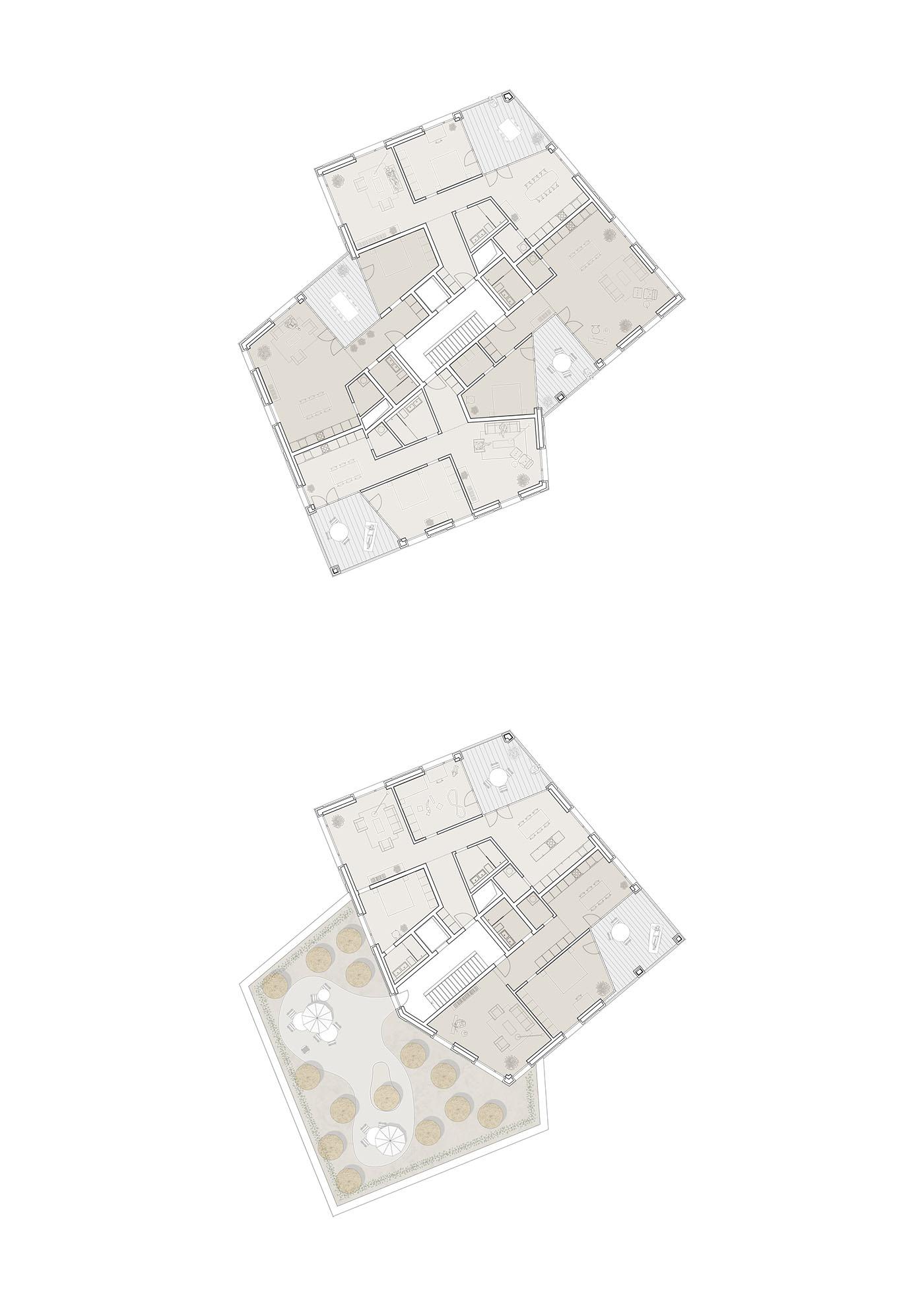 buan architekten – Studienauftrag Kanzlei-Kreisel Emmenbrücke – 2.+4.Obergeschoss