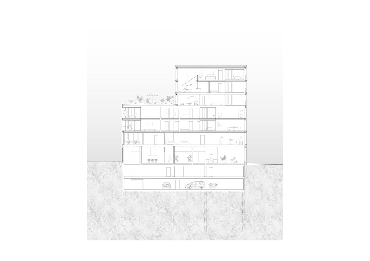 buan architekten – Studienauftrag Kanzlei-Kreisel Emmenbrücke – Schnitt