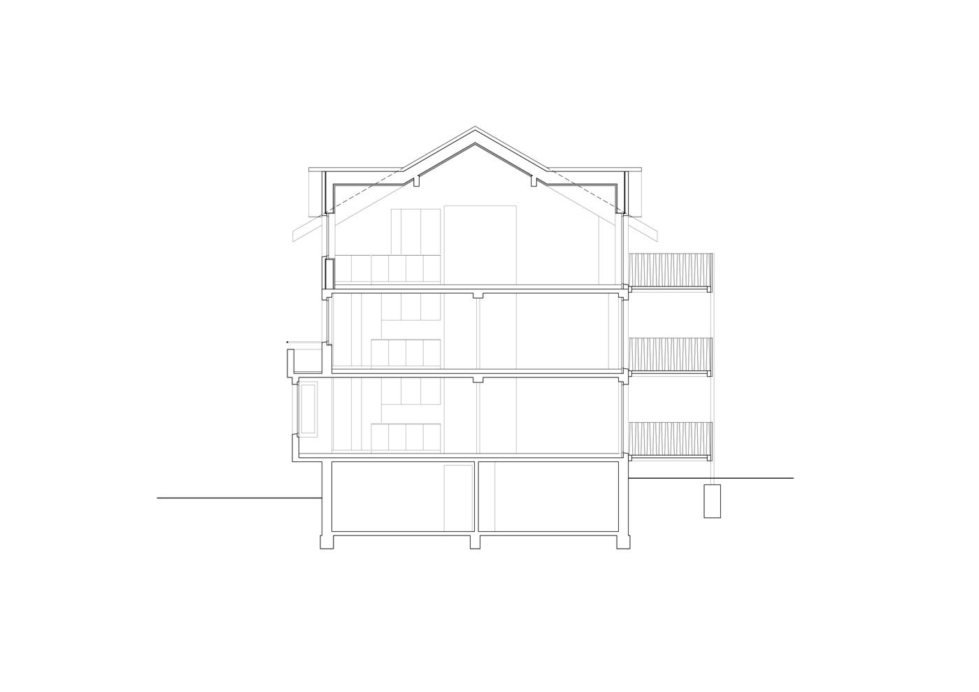 buan architekten – Wohnhaus Langensandstrasse Luzern – Schnitt