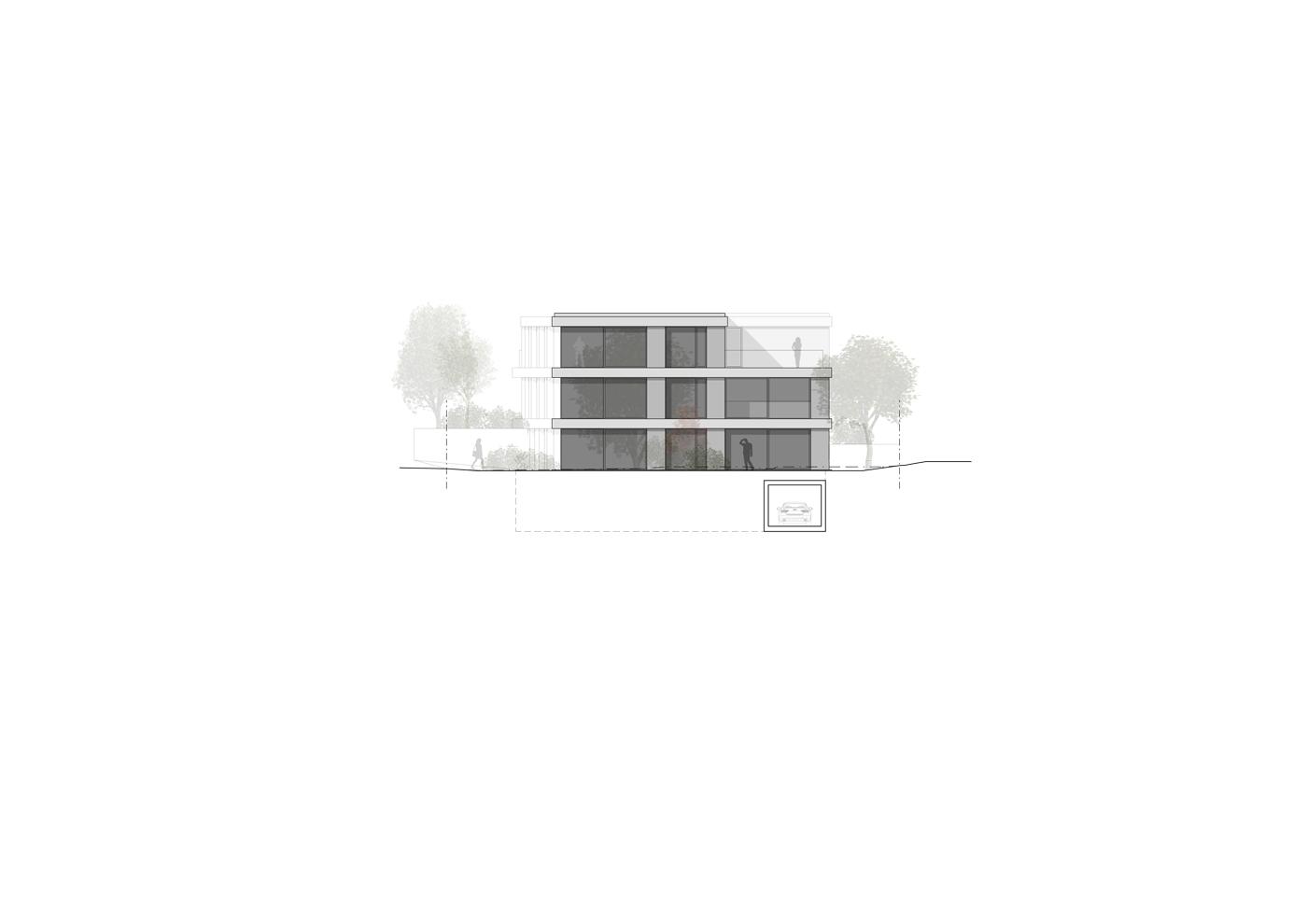 buan architekten – Wohnhaus Nelkenstrasse Emmen – Ansicht Südost