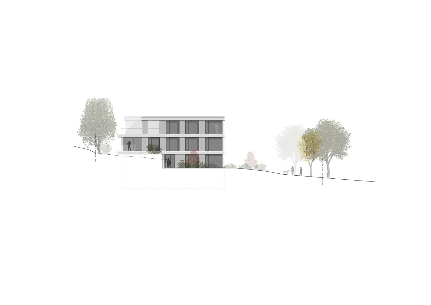 buan architekten – Wohnhaus Nelkenstrasse Emmen – Ansicht Südwest