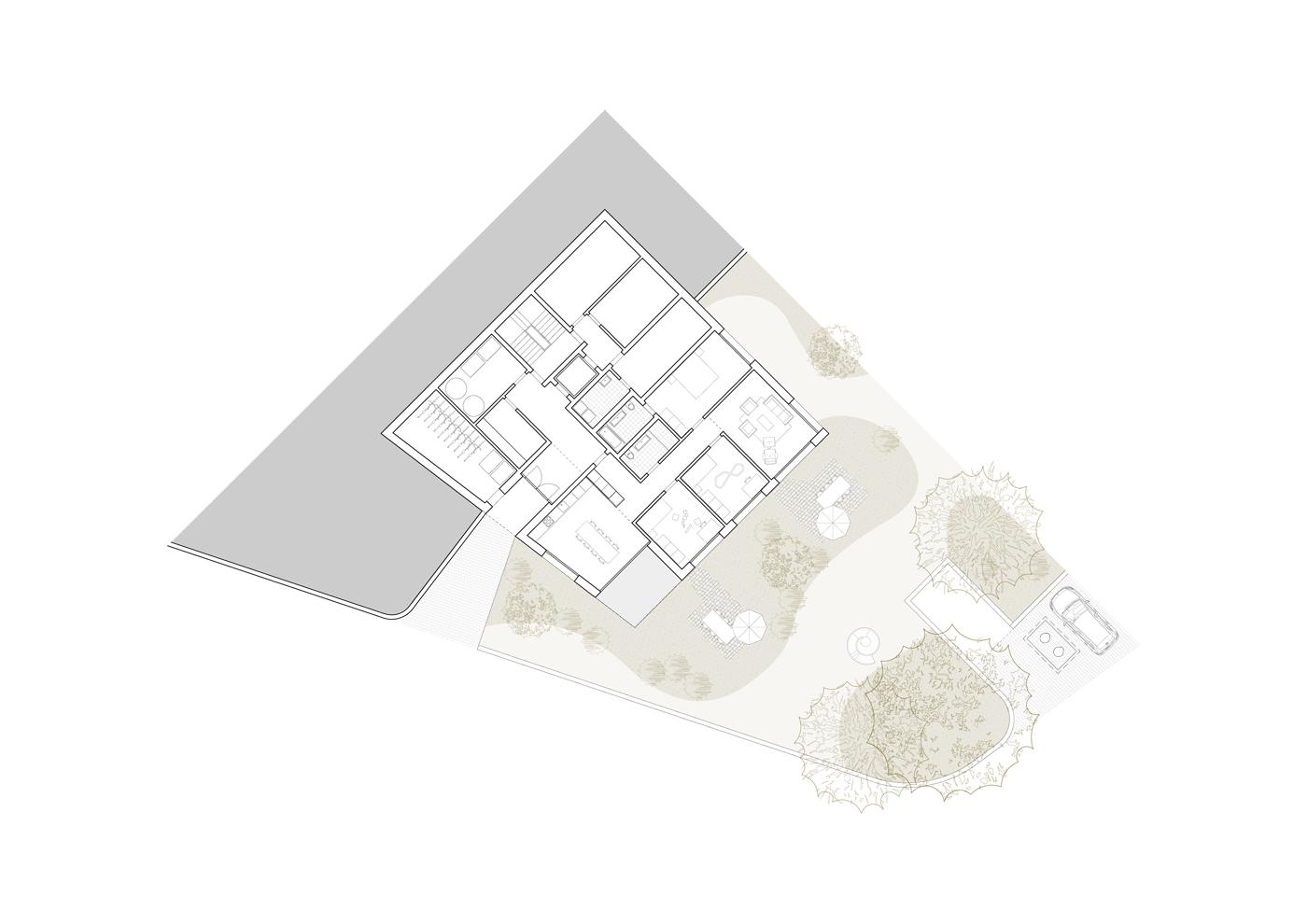 buan architekten – Wohnhaus Nelkenstrasse Emmen – Grundriss Erdgeschoss