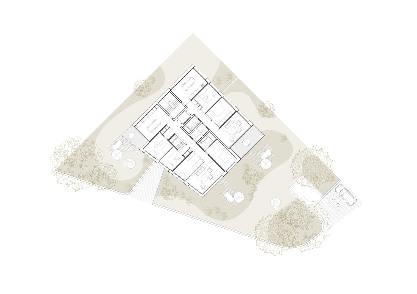 buan architekten – Wohnhaus Nelkenstrasse Emmen – Grundriss Obergeschoss