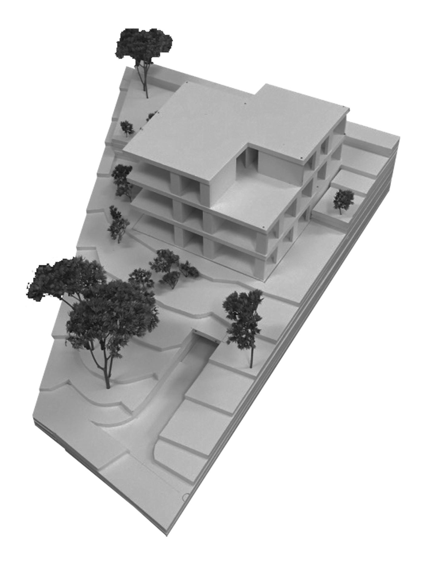 buan architekten – Wohnhaus Nelkenstrasse Emmen – Vogelperspektive Modell