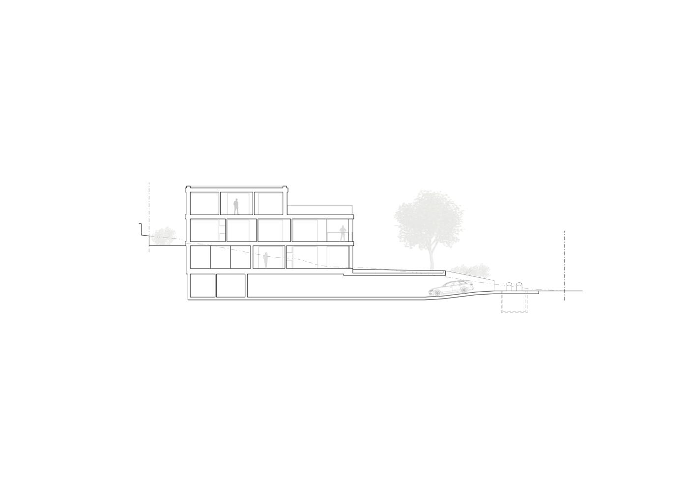 buan architekten – Wohnhaus Nelkenstrasse Emmen – Schnitt