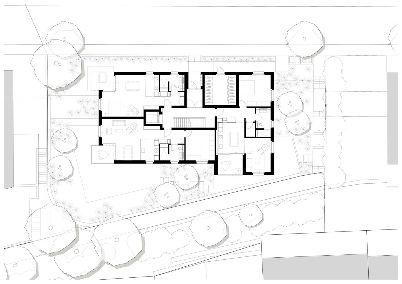buan architekten – Neubau Wohnhaus Fluhmattstrasse Luzern – Grundriss Erdgeschoss