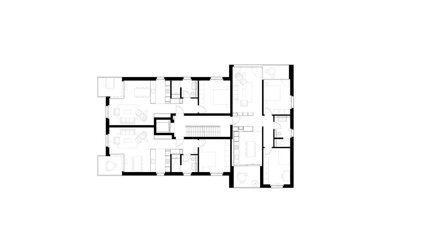 buan architekten – Neubau Wohnhaus Fluhmattstrasse Luzern – Grundriss Regelgeschoss