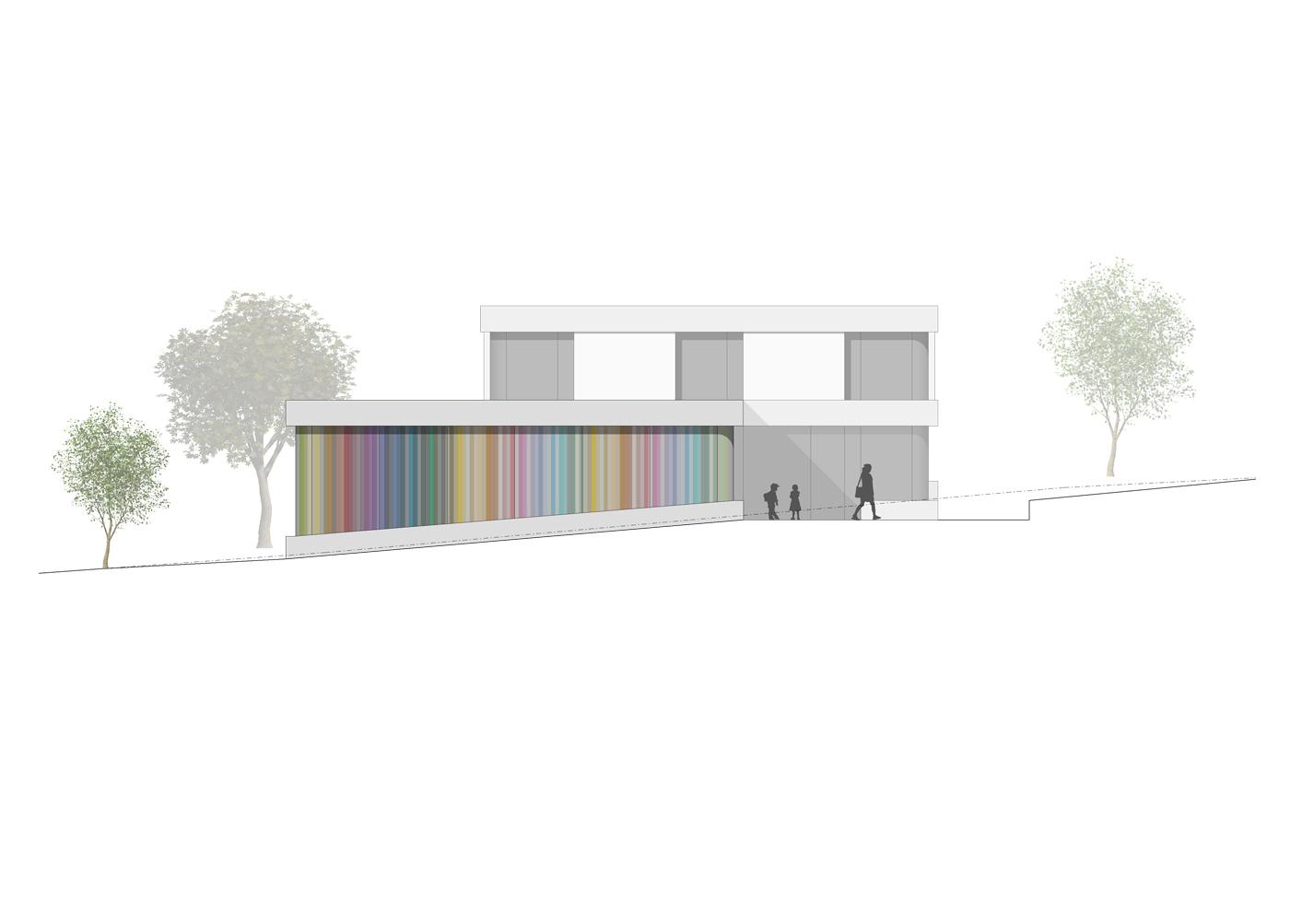 buan architekten – Schulanlage Erlen Emmenbrücke – Neubau Ansicht