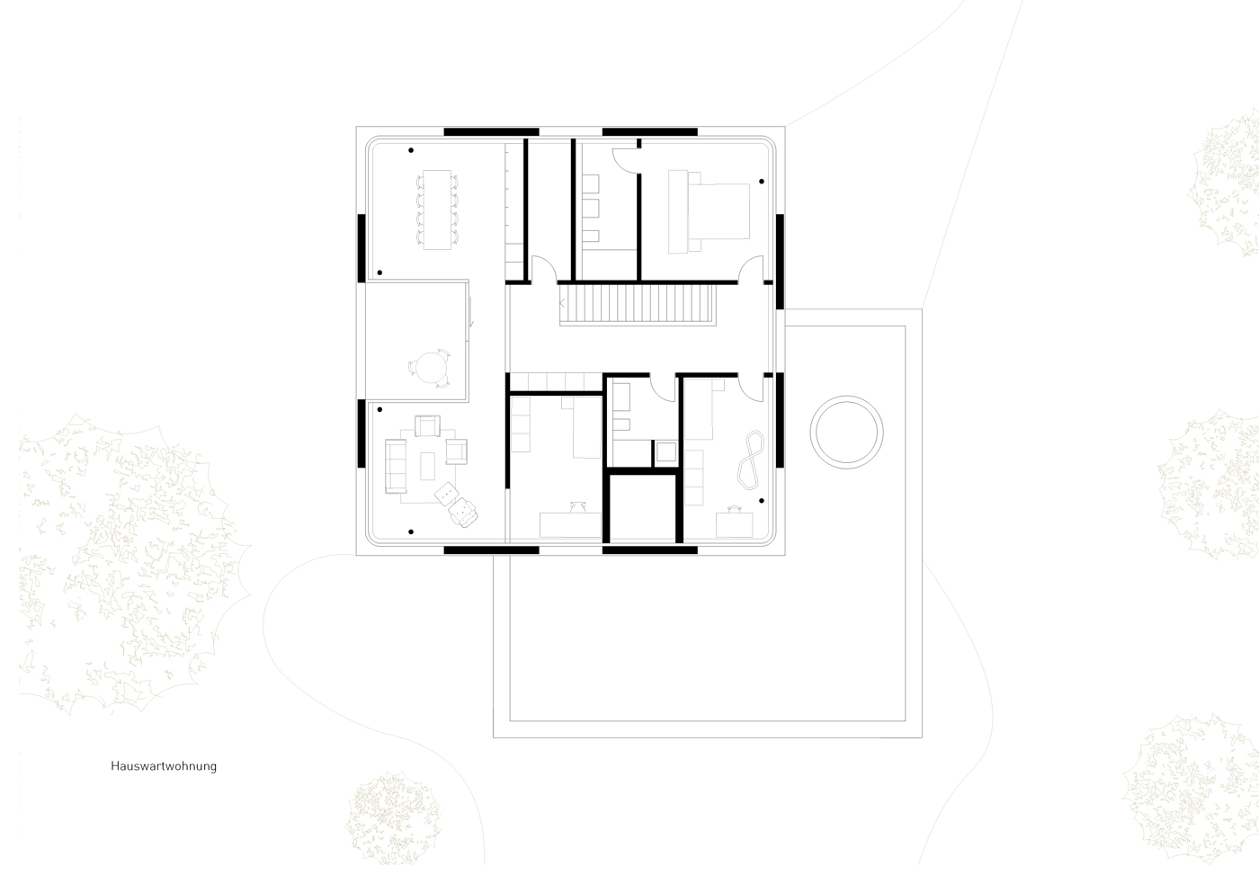 buan architekten – Schulanlage Erlen Emmenbrücke – Neubau Grundriss Hauswartwohnung