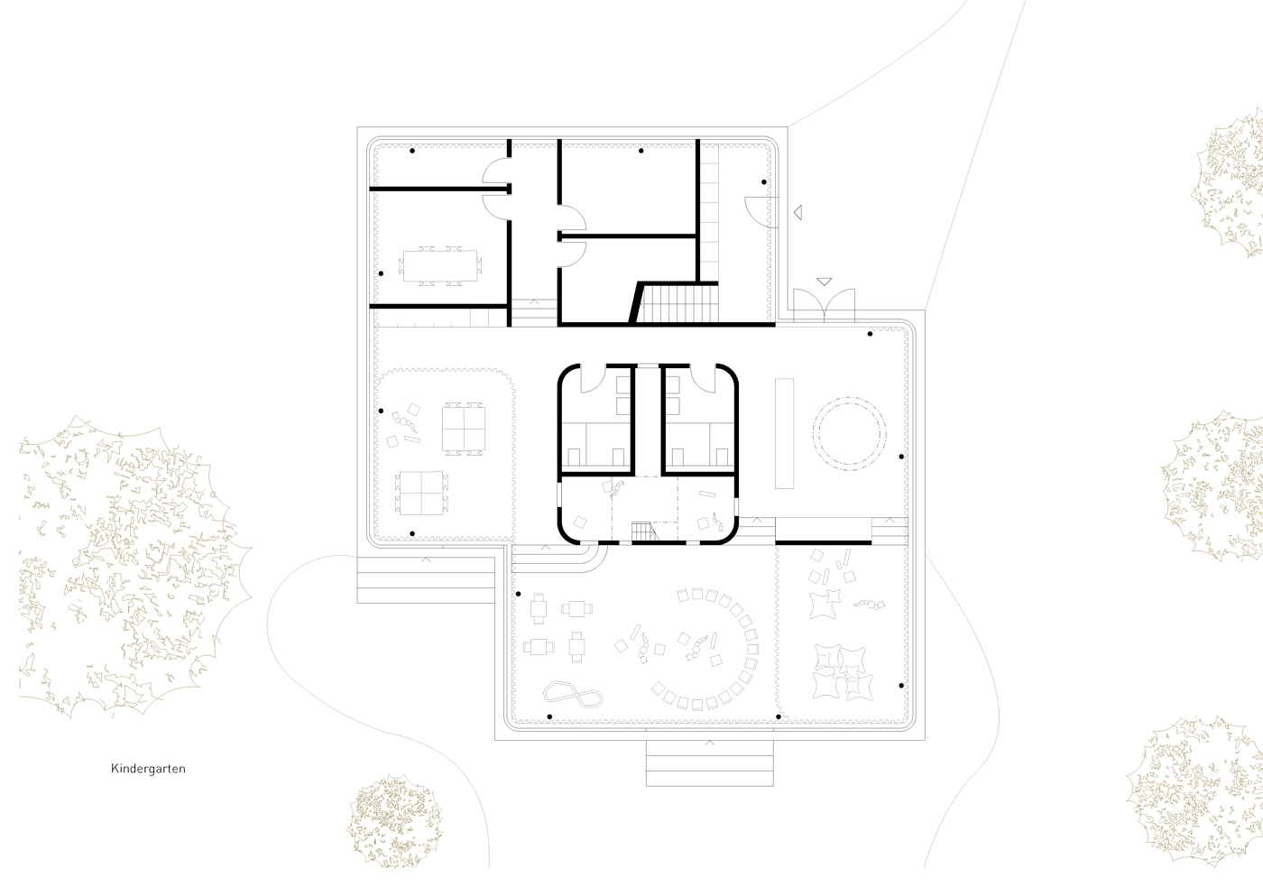 buan architekten – Schulanlage Erlen Emmenbrücke – Neubau Grundriss Kindergarten