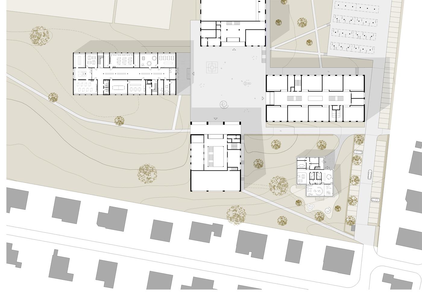 buan architekten – Schulanlage Erlen Emmenbrücke – Umgebungsgestaltung