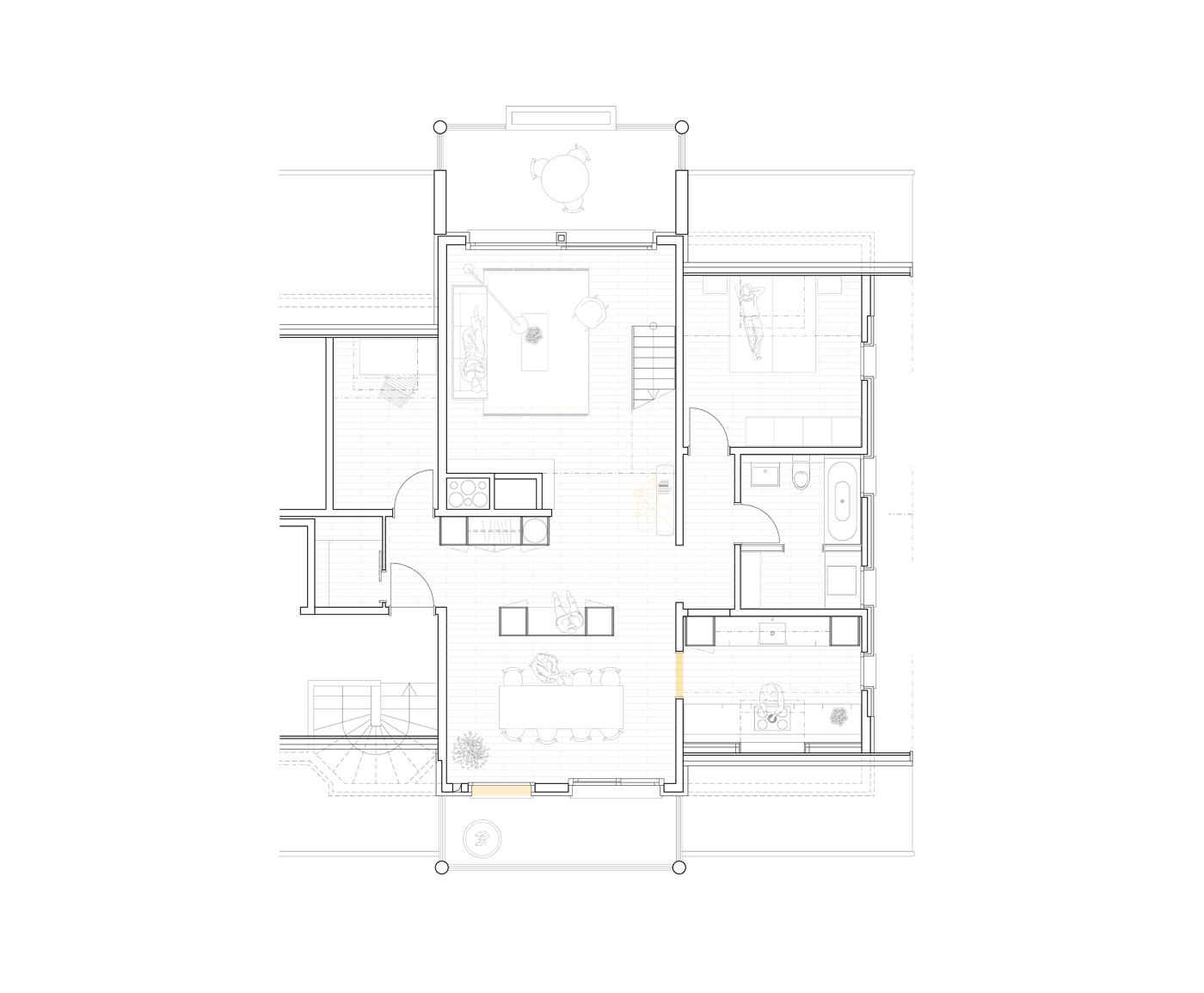 buan architekten – Umbau Attikawohnung Willisau – Grundriss Dachgeschoss