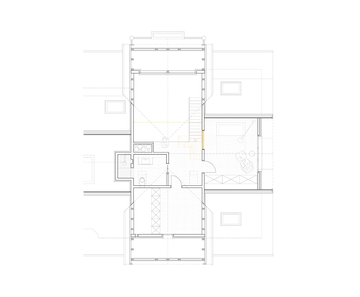 buan architekten – Umbau Attikawohnung Willisau – Grundriss Galeriegeschoss