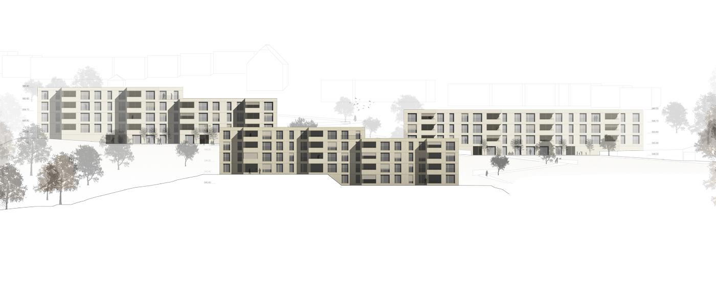 buan architekten – Projektwettbewerb Weinhalde Kriens – Gesamtansicht