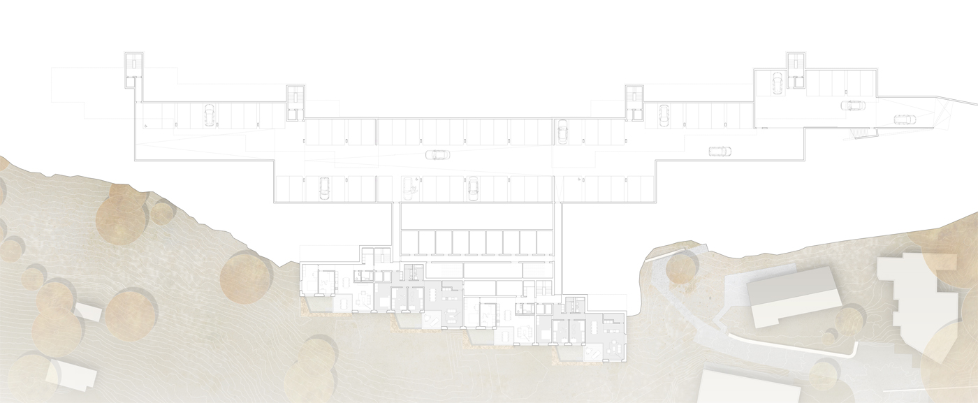 buan architekten – Projektwettbewerb Weinhalde Kriens – Grundriss Einstellhalle