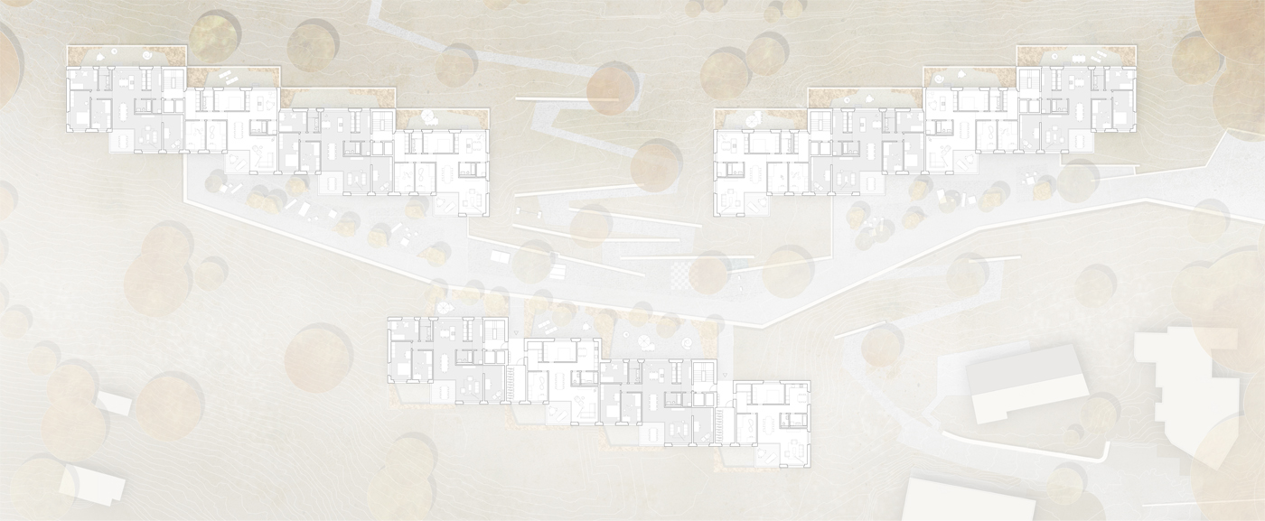 buan architekten – Projektwettbewerb Weinhalde Kriens – Grundriss Wohngeschoss