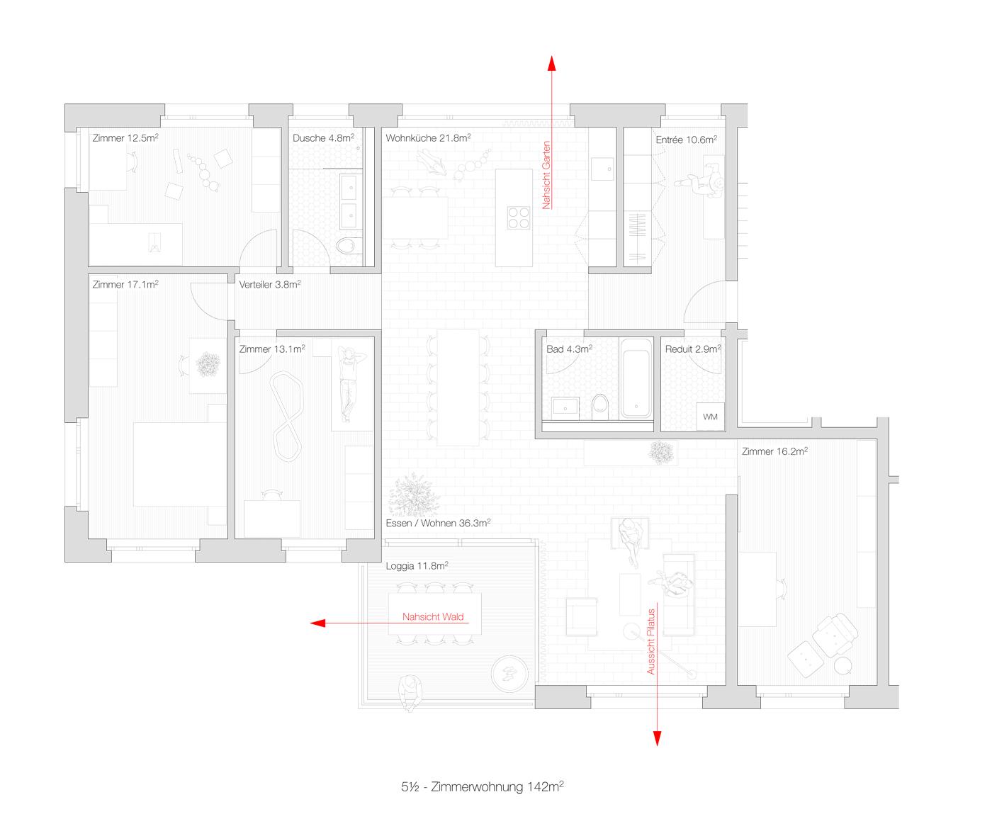 buan architekten – Projektwettbewerb Weinhalde Kriens – Grundriss Wohnung