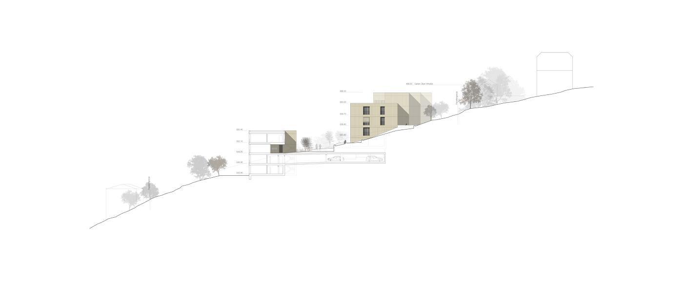 buan architekten – Projektwettbewerb Weinhalde Kriens – Schnitt
