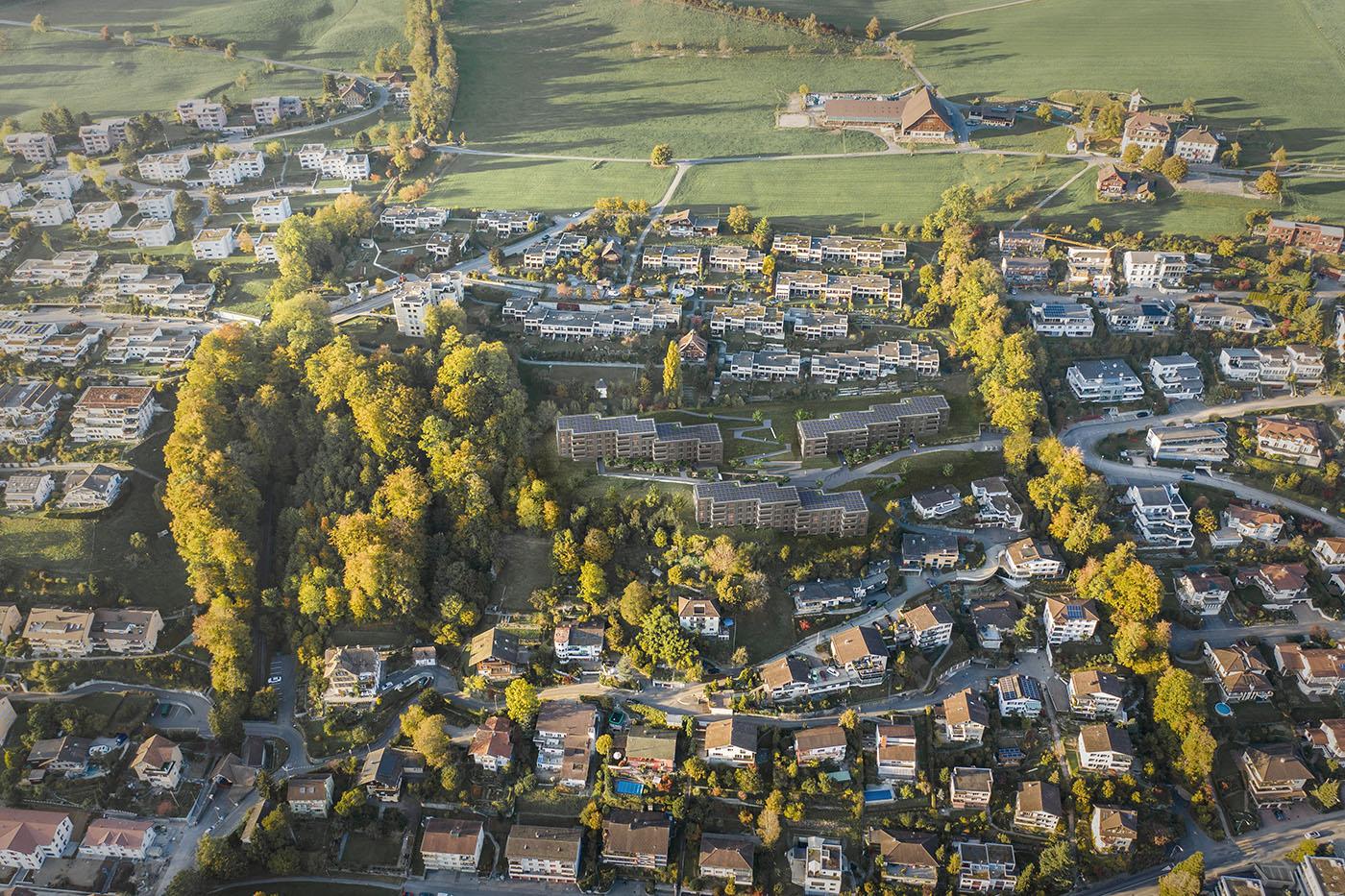buan architekten – Projektwettbewerb Weinhalde Kriens – Vogelperspektive