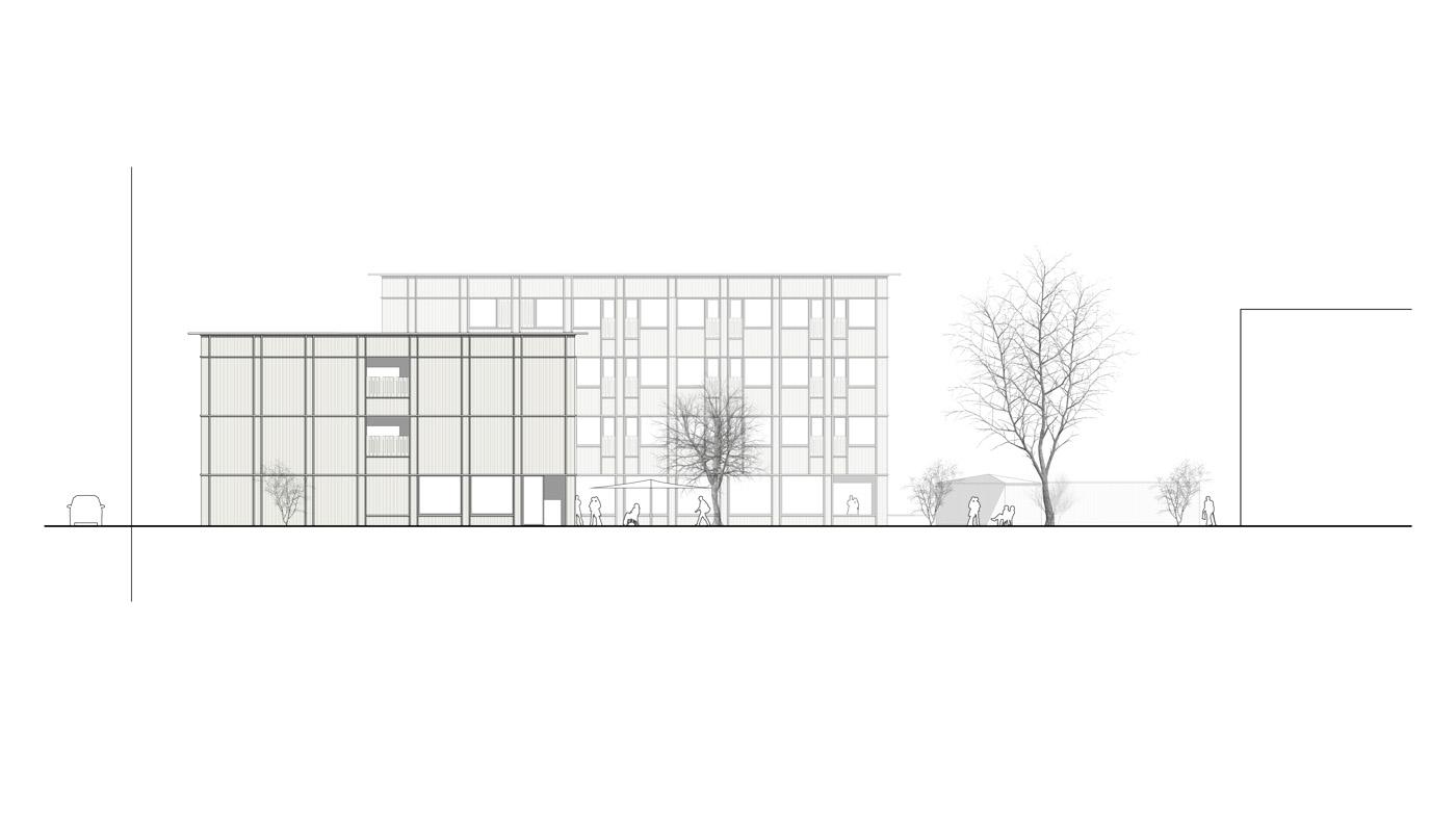 buan architekten – Studienauftrag Wohnheim Lindenfeld Emmen – Ansicht Südwest