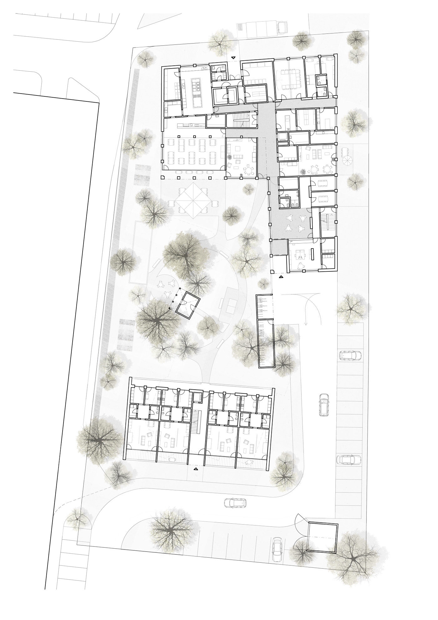 buan architekten – Studienauftrag Wohnheim Lindenfeld Emmen – Grundriss Erdgeschoss